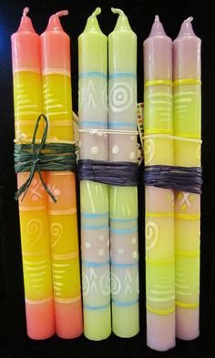 Hand-painted candles from South Africa