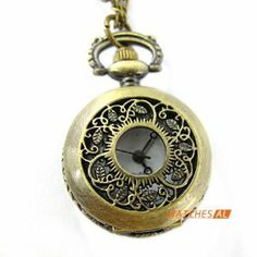 Vintage Bronze Openwork Cover Quartz Pocket Watch Hunter with Chain Gift by new brand. $4.99. ItemnoNBW0PF7117 GenderUnisex MovementQuartz Movement Case Size27*36mm Case Thickness12mm BezelBronze alloy bezel  DialWhite dial with Arabic numerals hour marking Case BackBronze alloy case back with flower pattern Weight23g Water resistantDaily water resistant, please don't put it in water Length44(Chain length: elongation 78cm, fold 39cm) cm