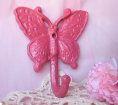Shabby Chic Spring Cast Iron Butterfly Hook in by happybdaytome, $12.00