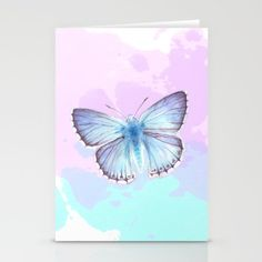 Turquoise and light blue butterfly watercolor painting by Sylph Designs (artist…