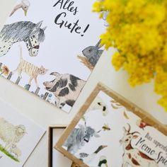 """Die kleinen Dinge on Instagram: """"Es gibt neue Postkarten im Shop 💛 Eine hübscher als die andere 💛 Die ALLES GUTE Karte mit den Bauernhof Tieren ist die perfekte Ergänzung…"""" Shops, Poster, Illustration, Instagram, Little Ones, Little Things, Do Your Thing, Postcards, Animales"""