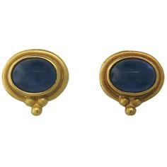 Reinstein Ross Gold Sapphire Cabochon Stud Earrings | From a unique collection of vintage more earrings at http://www.1stdibs.com/jewelry/earrings/more-earrings/