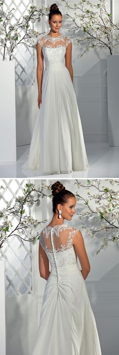 """Isabel de Mestre - New York Kollektion 2015: Brautkleid """"Tunika"""" - fließend mit leichten Stickereien und transparenten Trägern"""