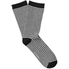 Witchery Stripe Crew Sock ($10) ❤ liked on Polyvore featuring intimates, hosiery, socks, color block socks, white striped socks, striped crew socks, block socks and striped socks