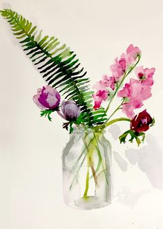 Original watercolor painting of Bouquet with Ferns by Gretchen Kelly -- Gretchen Kelly / flower / gentle pink flowers / simple and beautiful floral art Art Aquarelle, Illustration Blume, Watercolor Cards, Watercolor Water, Watercolor Ideas, Watercolor Flowers Tutorial, Watercolour Flowers, Watercolour Paintings, Watercolor Artists