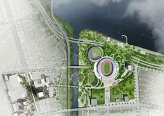 Image 12 of 12 from gallery of Winning Design Revealed for New Complex Around Seoul's Olympic Stadium. Courtesy of NOW Architects Architecture Portfolio, Concept Architecture, Futuristic Architecture, Historical Architecture, Architecture Diagrams, Landscape Architecture, Urban Design Plan, Site Plans, Master Plan