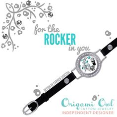New Leather Wrap Bracelet from Origami Owl! I am totally in love with them!! #rocker #origamiowl #blackleatherbracelet #livinglocket