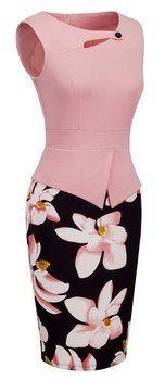 Homeyee® Women's Elegant Chic Bodycon Formal Dress B288 (M, Light Pink)