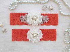 wedding garter set orange bridal garter set orange by venusshop, $24.90