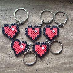 Valentine's Day Handcrafted Minecraft INSPIRED Heart Perler Bead Keychain (12)