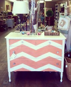 Love this coral chevron painted dresser!