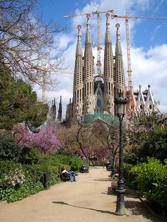 La Sagrada Familia in Barcelona, Spain. It'll take about 13 years to finish building the last part of this church!