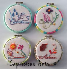 Winter, Spring, Summer & Fall Seasons Hand Embroidered Hoop Art (SOLD) on Etsy, $60.00