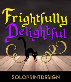"""Halloween svg cut file with golden glitter elements """"Frightfuly Delightful"""". Vector halloween clip art cat svg. Printable and cuttable files for сutting with Cricut and Sillhuette."""