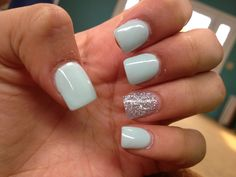 Super cute mint & silver acrylic nails. I would like to do this with a light purple