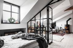 The Nordroom - An Industrial Look For A Small Attic Apartment in Stockholm New York vibes in a small Scandinavian attic apartment with exposed brick walls and industrial elements Warehouse Apartment, London Apartment, Attic Apartment, Apartment Design, Attic Spaces, Small Spaces, Deco Studio, Small Attics, Attic Bedrooms