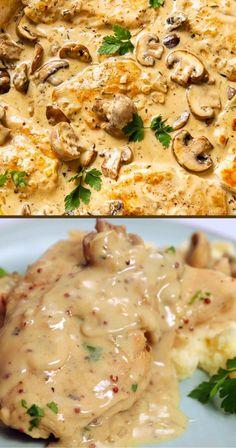 Garlic Chicken Recipes, Baked Chicken, Oven Chicken, Creamy Chicken Breast Recipes, Garlic Chicken Pasta, Smothered Chicken Recipes, Keto Chicken, Healthy Chicken, Comida Diy