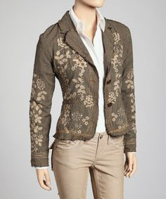 This blazer's got it all, from floral embroidery and sequin detailing to an on-trend weathered finish at the seams and hem. Paired with jeans and a basic tee, this is the glance-grabbing centerpiece every lady's been looking for.Measurements (size S): 21'' long from high point of shoulder to hem55% acrylic / 45% polyester