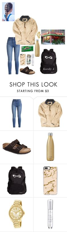 """""""Going to the veggie grill with king after school-Karoliy"""" by sanaawest ❤ liked on Polyvore featuring Birkenstock, West Elm, Casetify and Michael Kors"""