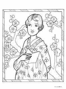 梅園の女性の塗り絵の下絵、画像
