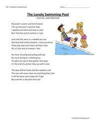 The Lonely Swimming Pool Third Grade Reading Comprehension Worksheet