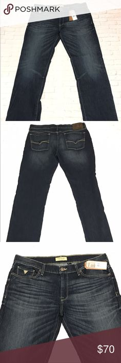 """Guess LA Lincoln Slim Fit Low Rise Straight 36x30 Guess LA Lincoln Slim Fit Low Rise Straight Leg Jeans Mens 36 X 30 New With Tags Retails for $89.00 Size: 36 x 30 Inseam: 31.5"""" Waist (measured flat): 19.25"""" Rise: 10.5"""" Length: 41.75""""  We make an effort to inspect our items before posting and strive to ship quality items. Please be sure to review all pictures when purchasing and feel free to ask any questions. Thanks! Guess Jeans Slim Straight"""