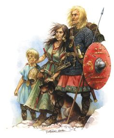 Vandal Warrior with Family in Africa after crossing the Giblartar V century AD.