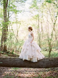 Enchanted Woodland Wedding with a Blush Wedding Dress Bridal Poses, Bridal Shoot, Wedding Shoot, Wedding Ideas, Wedding Gowns With Sleeves, Blush Bridal, Gorgeous Wedding Dress, Beautiful Dresses, Woodland Wedding
