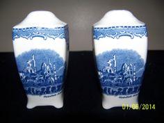 JOHNSON BROS GREAT BRITAIN CASTLES SALT & PEPPER SET - BLUE - ENGLAND - MINT!! Johnson Bros, Salt And Pepper Set, Great Britain, Pillar Candles, Castles, England, Mint, Stuffed Peppers, Check