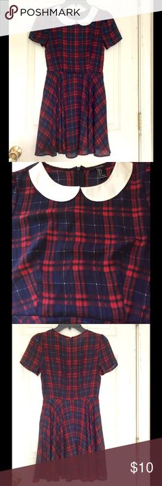 """School Girl❤️Black Red Plaid Poly Skater Dres Forever 21, Size Small. Brittany Spears cute! This plaid dress with round skirt, white Peter Pan collar & darling short sleeves will surely get you some Valentines! Semi Sheer plaid polyester in Black, Red, Blue, White with Black lining, hidden back zipper entry. Measures 13.5"""" across shoulders, 15.5"""" armpit to armpit, 26"""" waist, 30"""" shoulder to hem. Cuter than Cute ... BUNDLE & SAVE on Shipping Forever 21 Dresses"""