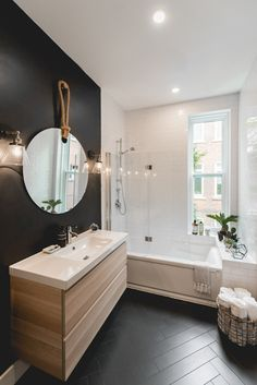 ideas black white wood bathroom modern for 2019 White Bathroom Tiles, Contemporary Bathtubs, Modern Bathroom, Bathroom Tile Designs, Wood Bathroom, Amazing Bathrooms, Bathroom Design, Best Bathroom Designs, Bathroom