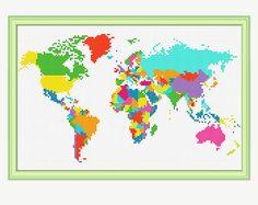 World Map Cross Stitch Pattern - Cross stitch continent - Atlas Cross stitch -Embroidery - PDF - INS Modern Cross Stitch Patterns, Counted Cross Stitch Patterns, Cross Stitch Designs, Cross Stitch Embroidery, Hand Embroidery, Crochet Cross, Le Point, Cross Stitching, Sewing Projects