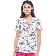 Find printed scrubs and nursing uniforms that are as unique as you are! Find fun, festive, and flattering tops! Scrub Tops, Breast Cancer Awareness, Scrubs, Nursing, Floral Tops, Ribbon, Sporty, Student, Silhouette