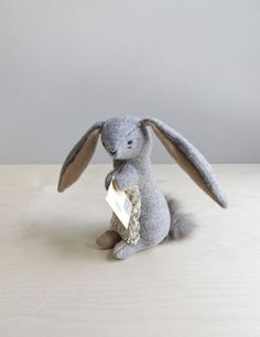 a rabbit with a letter to deliver / soft sculpture by ohalbatross, $78.00