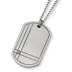 Chisel Brushed Titanium and Diamond Dog Tag on 22 Inch Steel Curb Chain Chisel. $77.95. Save 50%!