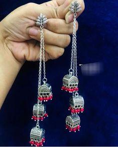 Indian Jewelry Earrings, Silver Jewellery Indian, Fashion Earrings, Fashion Jewelry, Silver Jewelry, Silver Earrings, Antique Jewellery Designs, Jewelry Design, Jewelry Closet