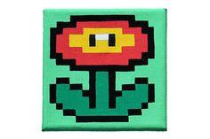 Nintendo Super Mario 8 bit flower painting on canvas