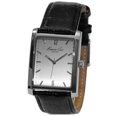 Kenneth Cole KCW1000 Men's New York Silver Dial Black Leather Strap Watch