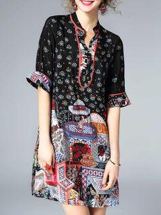 Shop Midi Dresses - Multicolor Shift Half Sleeve V Neck Midi Dress online. Discover unique designers fashion at StyleWe.com.