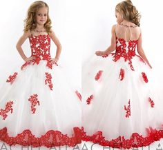 New Arrival 2015 Little Girls Pageant Dress White And Red Ball Gown Beads Lace Applique Floor Length Flower Girls Dress Online with $76.53/Piece on Bridal_gowns's Store | DHgate.com