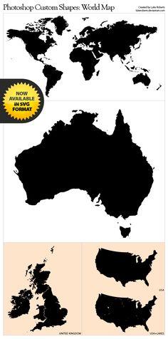 Photoshop Shapes: World Map by lukeroberts