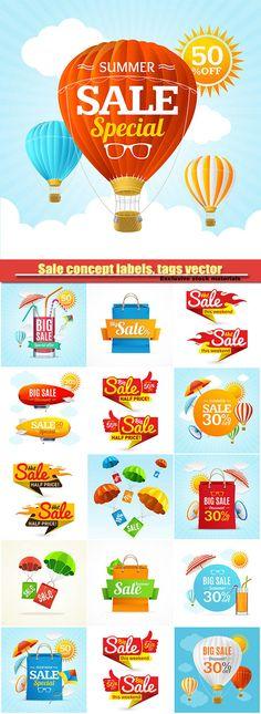 Sale concept labels tags vector illustration