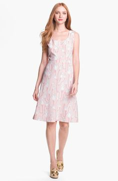 A rosy print echoes the sublime softness of a silken scoop-neck dress with a banded waistline. Color(s): ballet pink pinstripe. Brand: Tory Burch. Style Name: Tory Burch 'Jena' Stretch Silk A-Line Dress. Style Number: 654738.