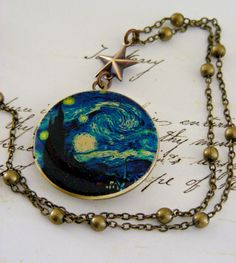 Locket+Necklace+Starry+Night+Van+Gogh+by+chloesvintagejewelry