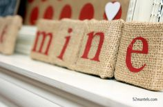 valentine's burlap blocks - Use Black letters to look like Scrabble tiles