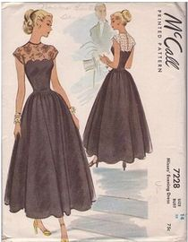 40s evening dress with lace detail