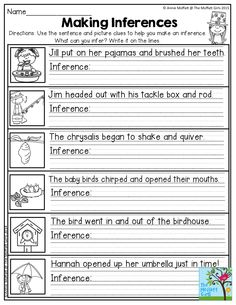 Making Inferences- Use the sentence and picture clues to help you make an inference. Great for Second Grade!