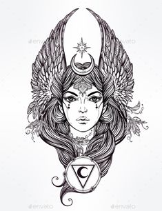 Woman as a Moon Deity by itskatjas Hand drawn romantic beautiful artwork of astrological Moon and Star planet diety in female form. Alchemy, religion, spirituality,