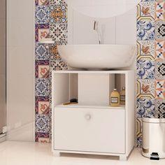 Balcão para Banheiro BBN 02-06 Branco - 1 Porta - em MDP - 61x53,5 cm