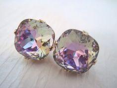12mm Square Rhinestone Stud Earings/Rainbow  Swarovski Crystal Earings/ Cushion Set Crystal Studs/ Crystal Studs/ Bridesmaid Earings